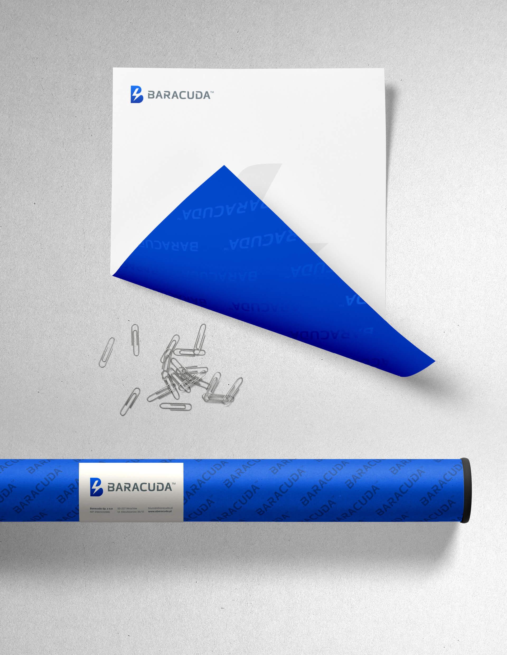 Nowoczesny projekt papieru firmowego dla marki baracuda