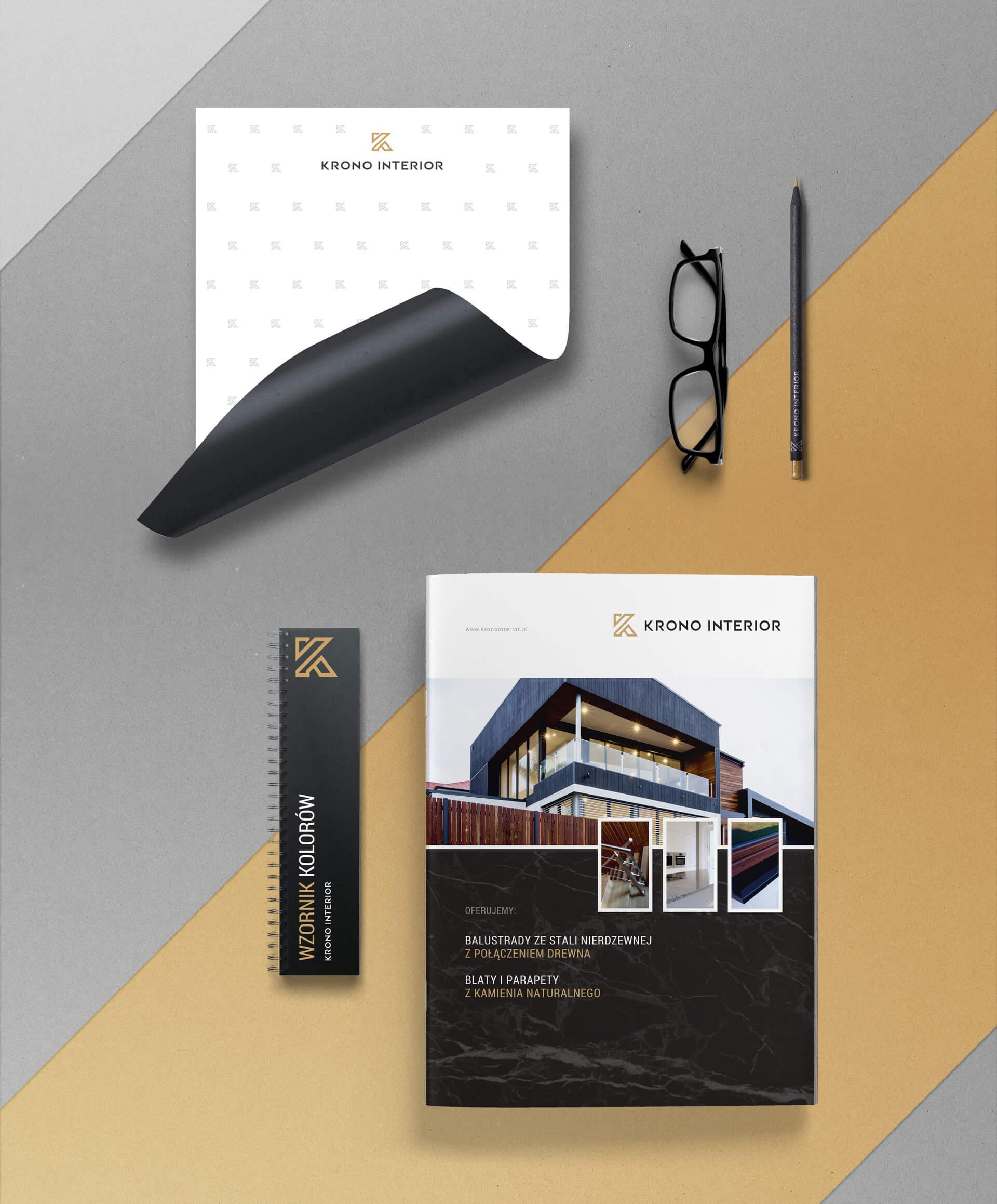 Folder reklamowy i materiały promocyjne dla firmy zajmującej się wykańczaniem wnętrz