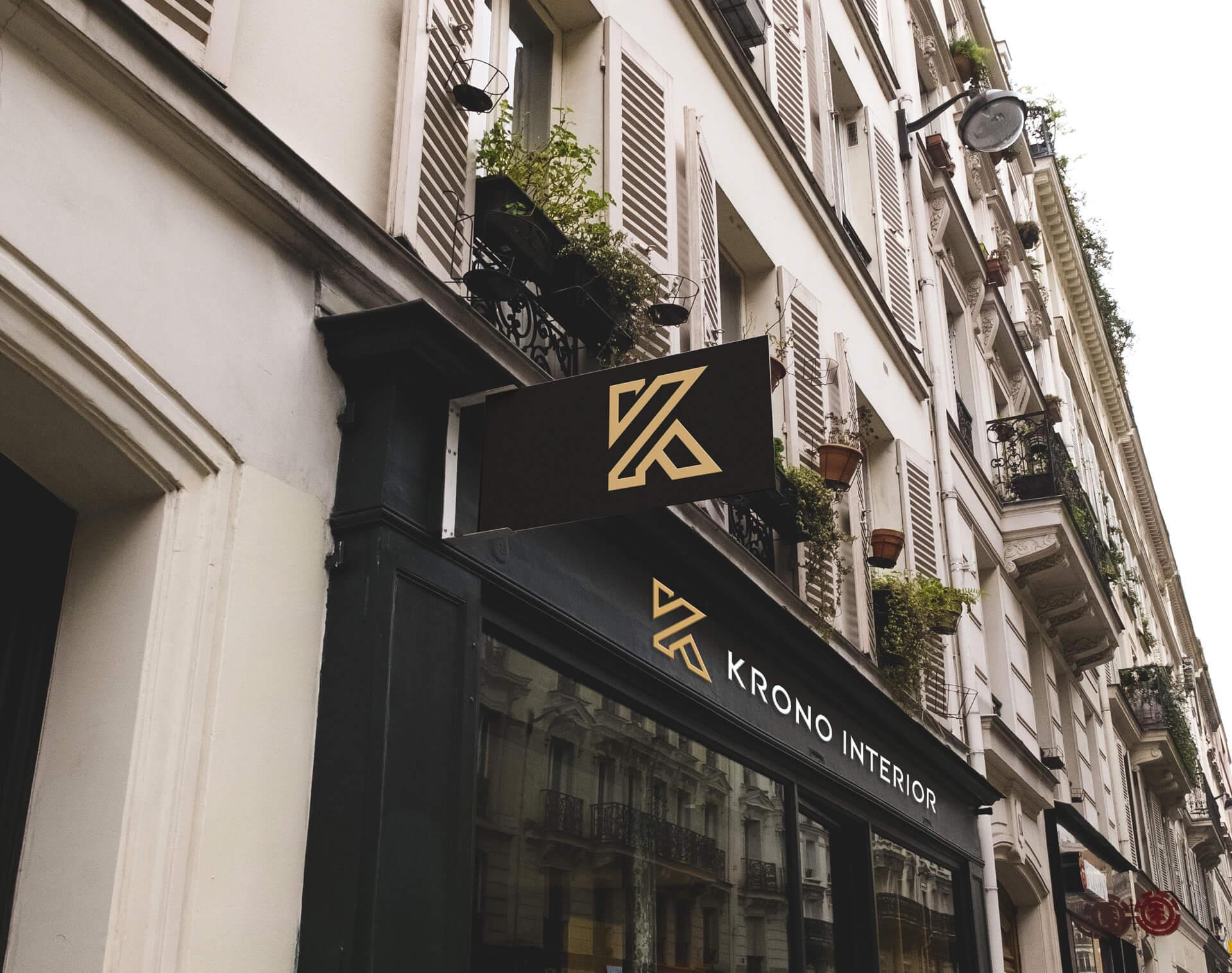 Baner z logo na budynku Krono Interior