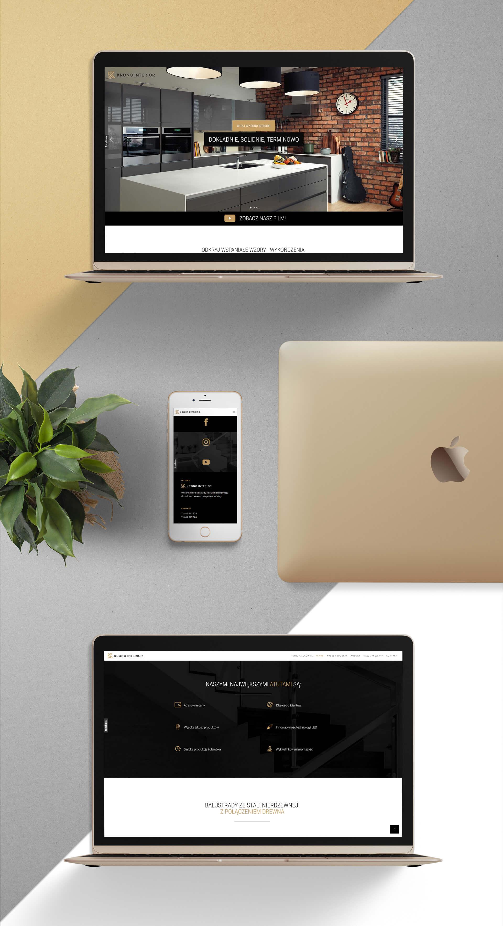 Projekt strony internetowej dla firmy Krono Interior