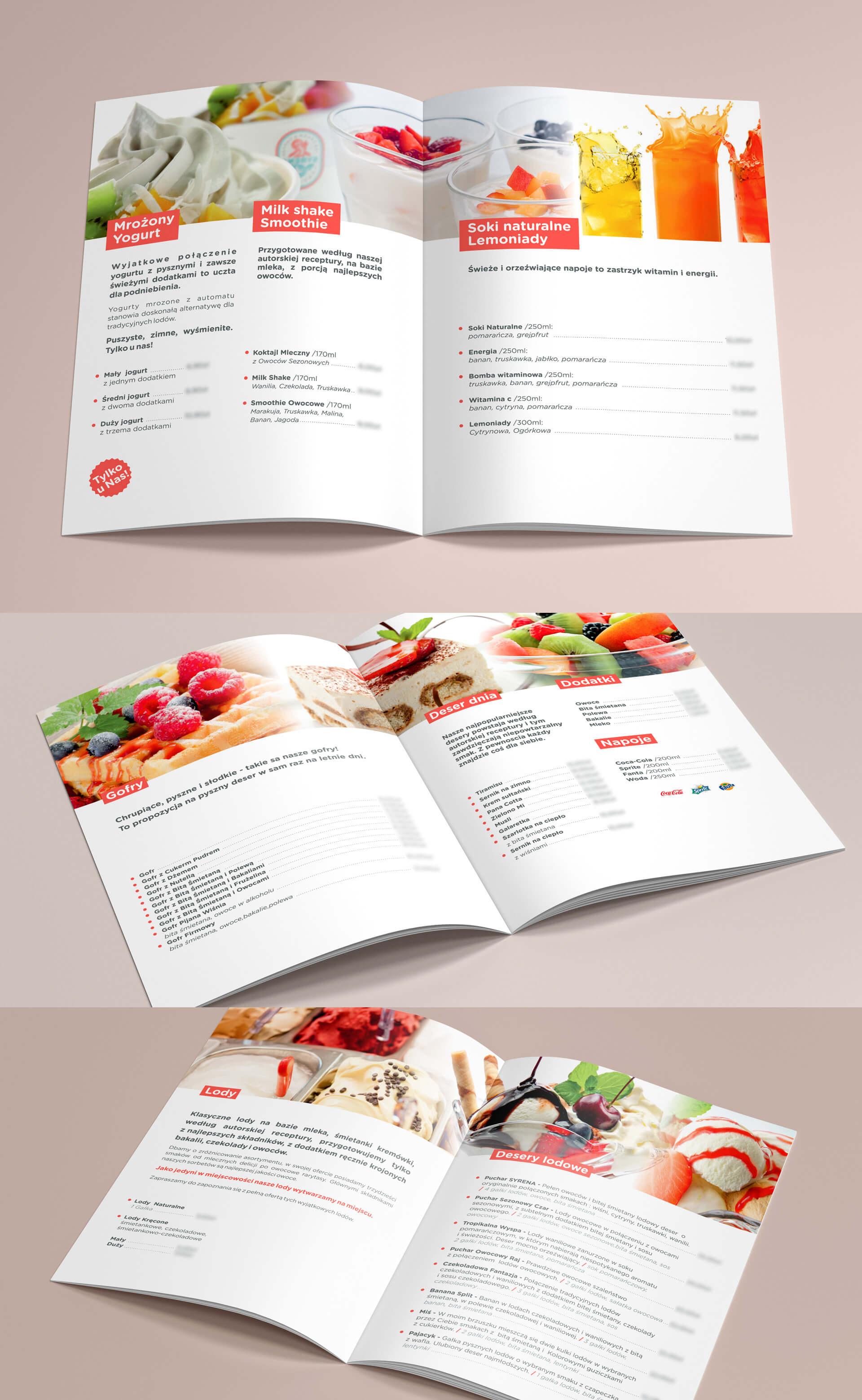 Projekt folderu reklamowego dla lodziarni Syrena w Międzywodziu